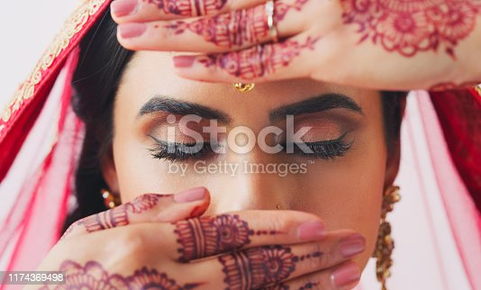 Cropped shot of a beautiful young woman covering her face with her hands on her wedding day