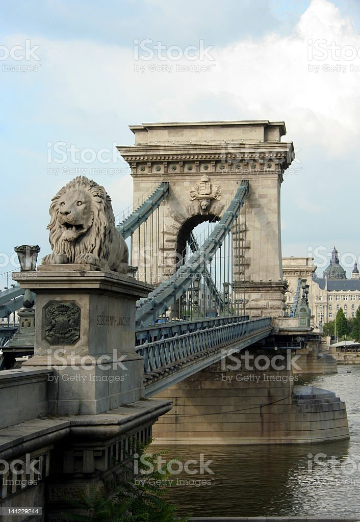 An impressive view of the Budapest Chain Bridge  royalty-free stock photo