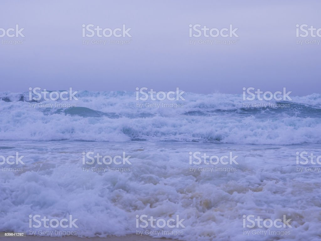 An income nature creation, the jumping wave toward the shore stock photo