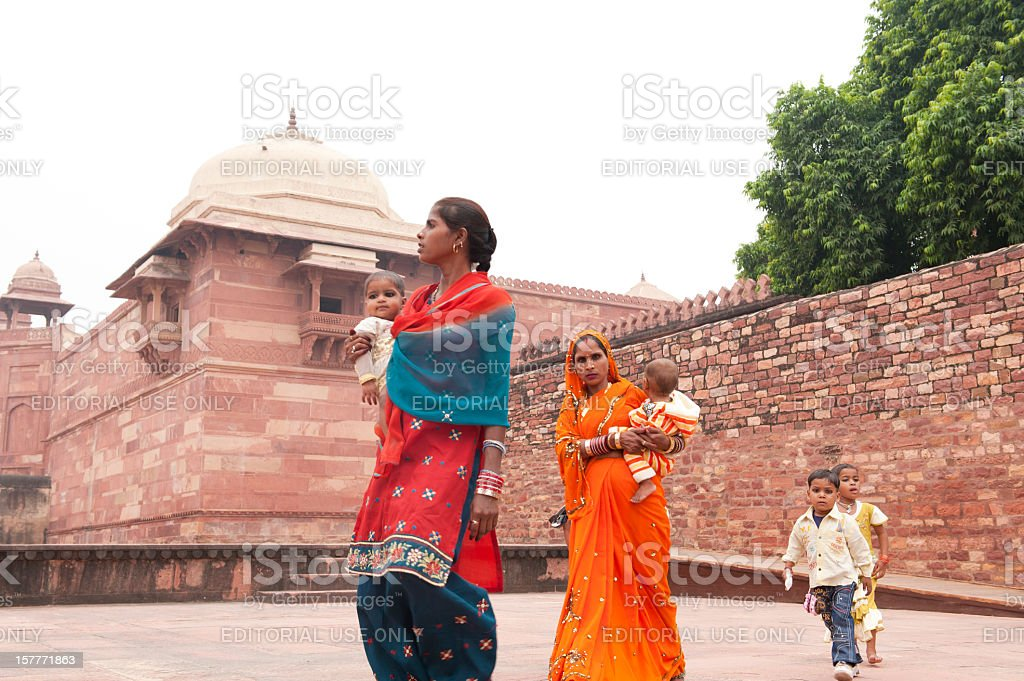 An Indian family explore Fatehpur Sikri stock photo