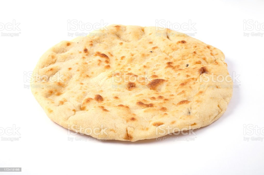 An indian naan bread on a white background stock photo
