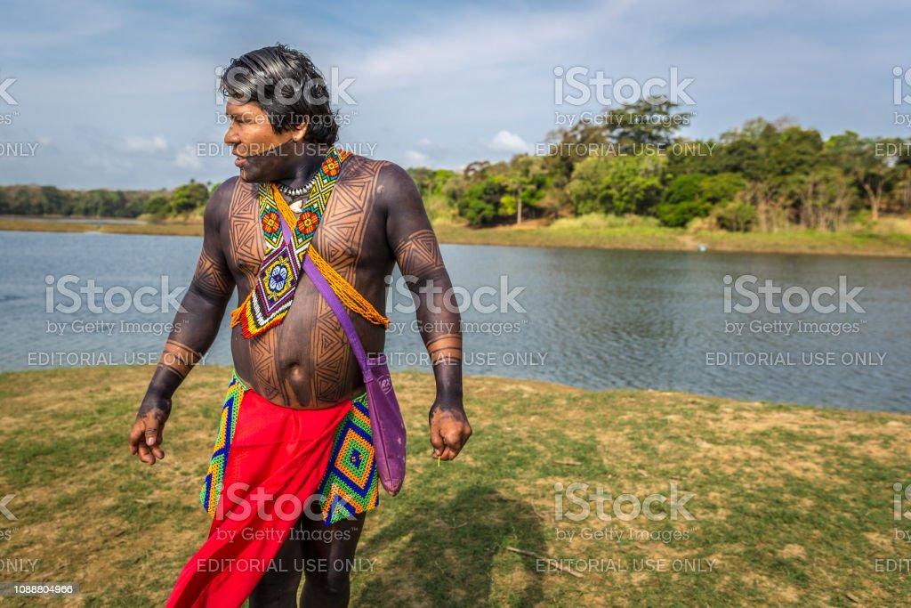 Embera Drua Villiage, Panama - Mar 3rd 2018 - An indigenous man...