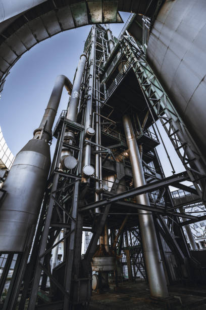 An industrial fuel factory building stock photo