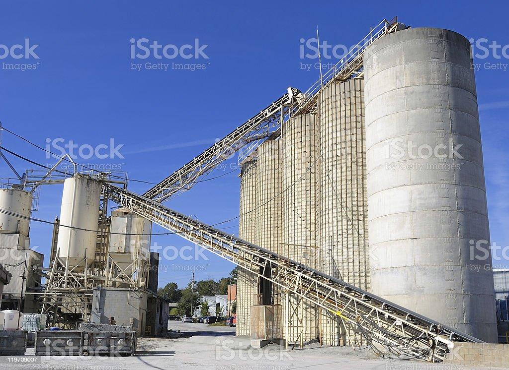 An industrial site with a cement plant royalty-free stock photo