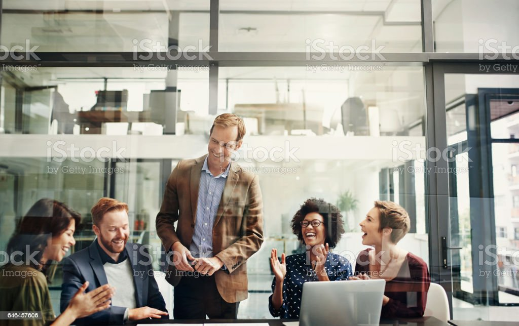 An inspired team is a winning team stock photo