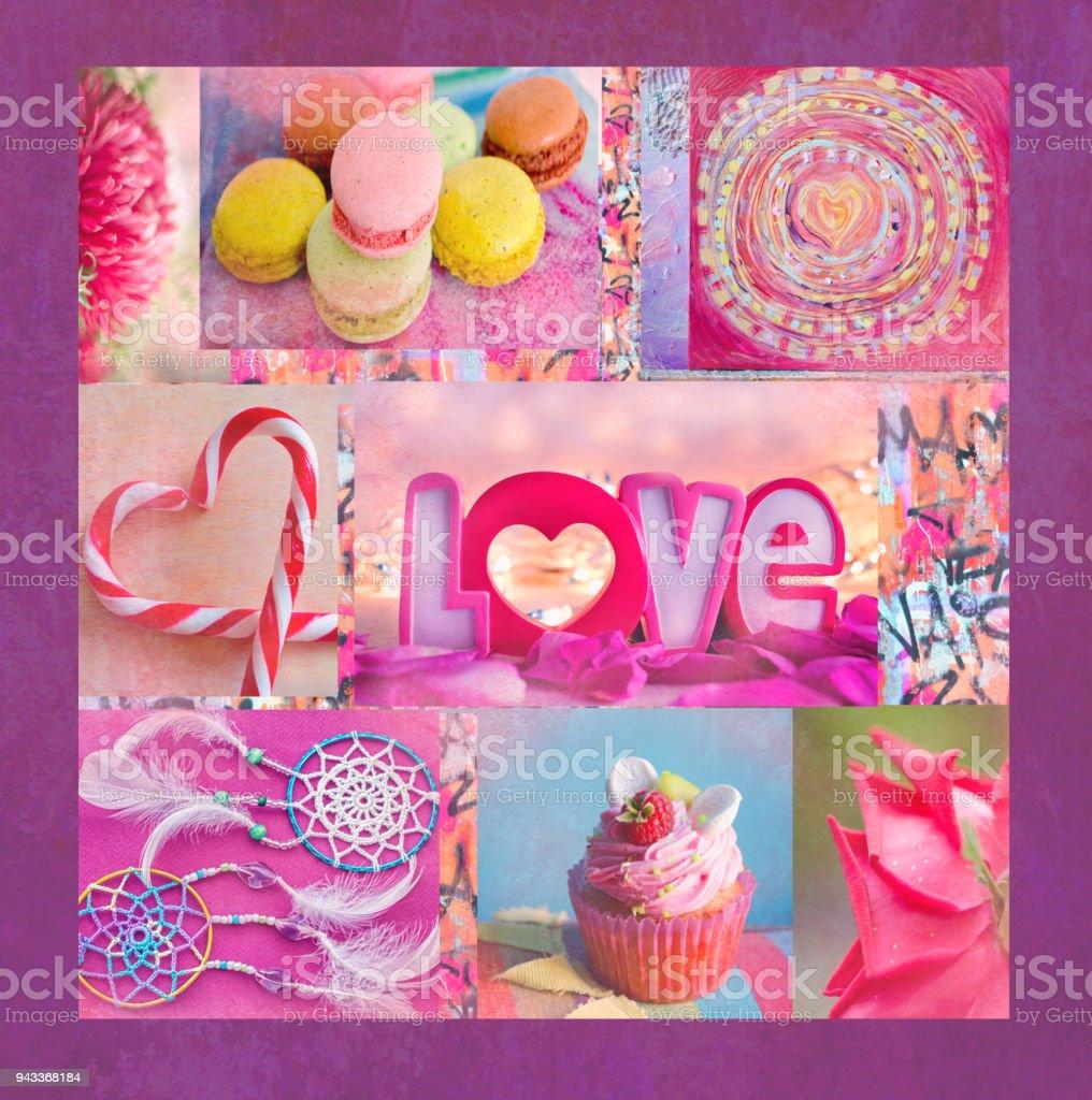 Eine Interessante Bunte Collage Mit Blumen Makkaroni Muffins Herz