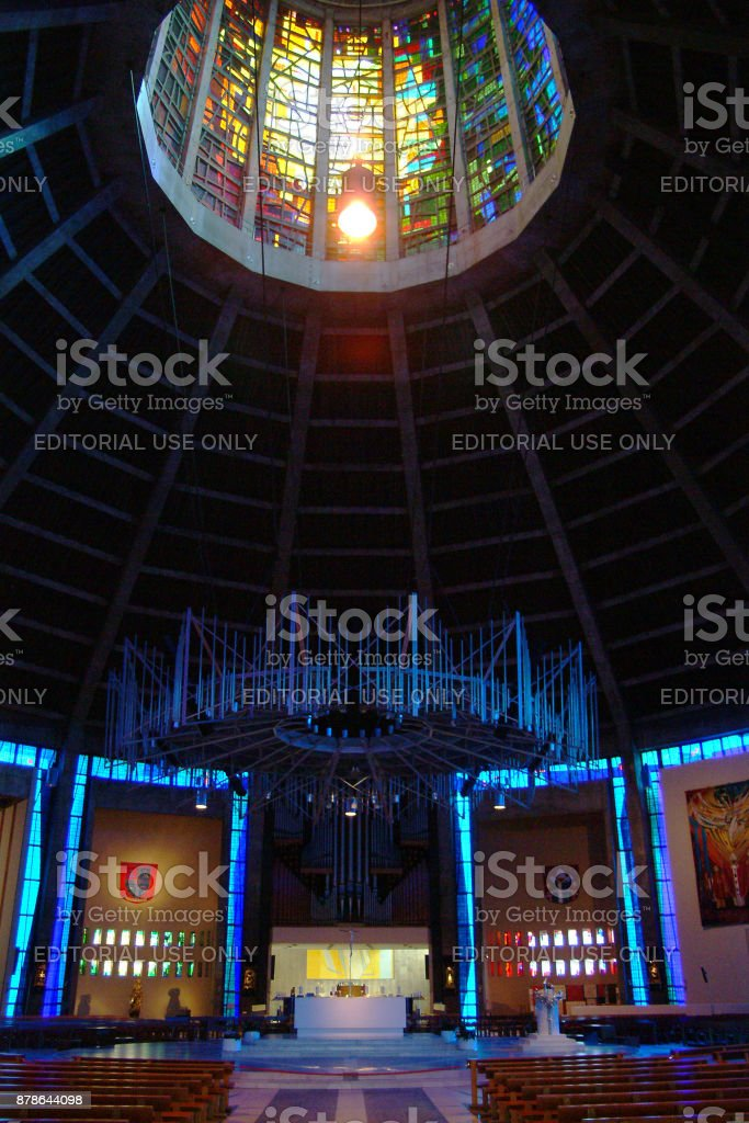 An internal view of the new Catholic Cathedral in Liverpool stock photo