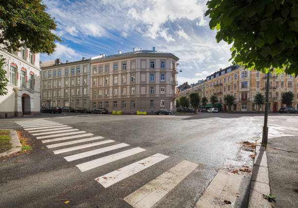 An Intersection and Crosswalk in Oslo Oslo is the capital city of Norway oslo stock pictures, royalty-free photos & images