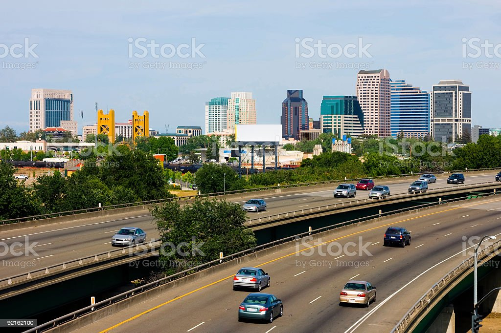 An Interstate in Sacramento, California with barely no cars  stock photo