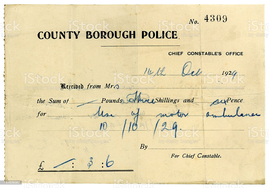 Bill for use of ambulance, 1929 stock photo