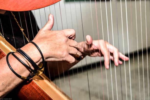 an irish colleen plays the irish harp - harpist stock photos and pictures