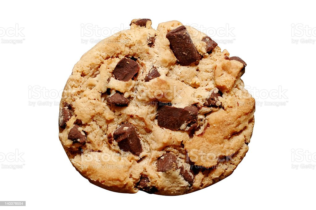 An isolated chocolate chip cookie stock photo