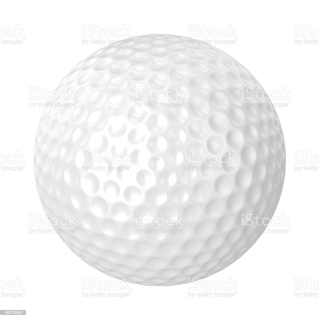 An isolated golf ball on white stock photo