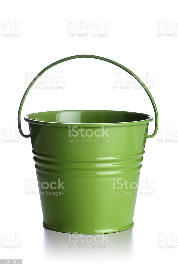 An isolated green bucket on white stock photo