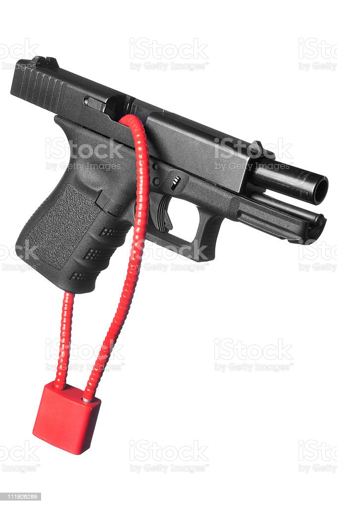 An isolated image of a locked firearm stock photo