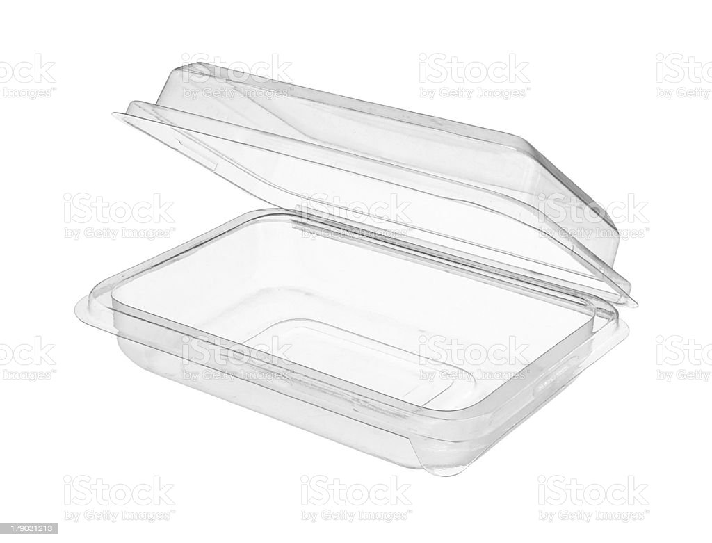 An isolated image of a plastic food storage container stock photo