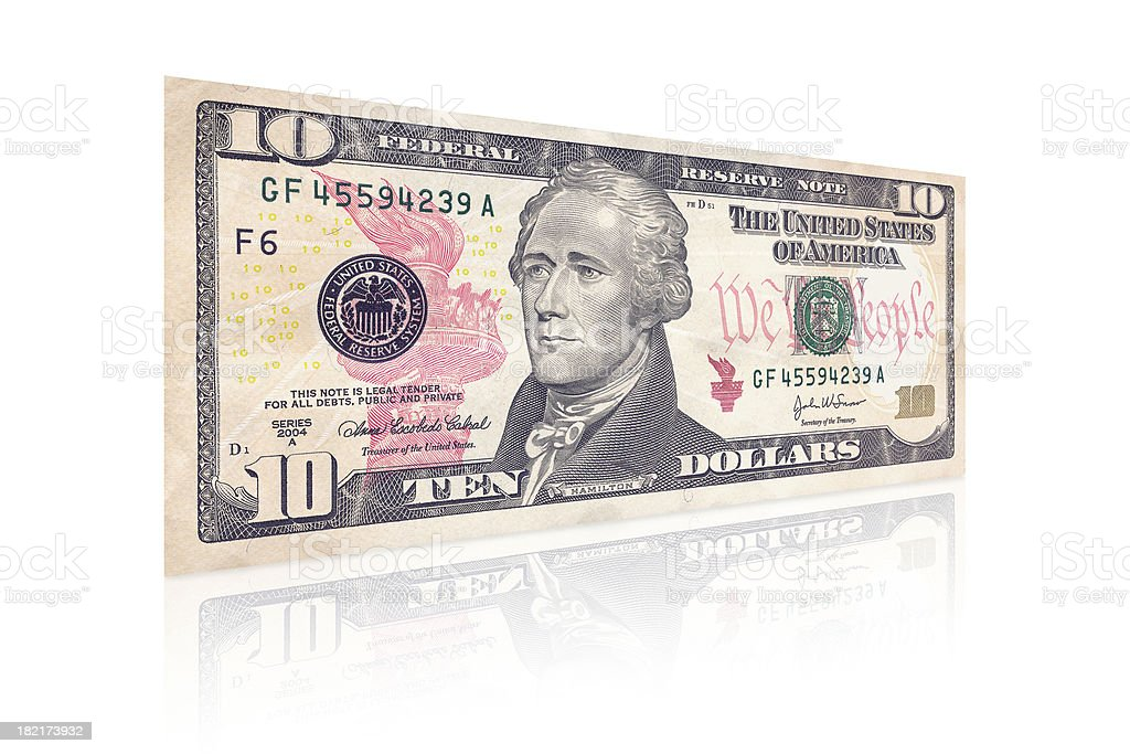 An isolated side view of a ten dollar bill stock photo