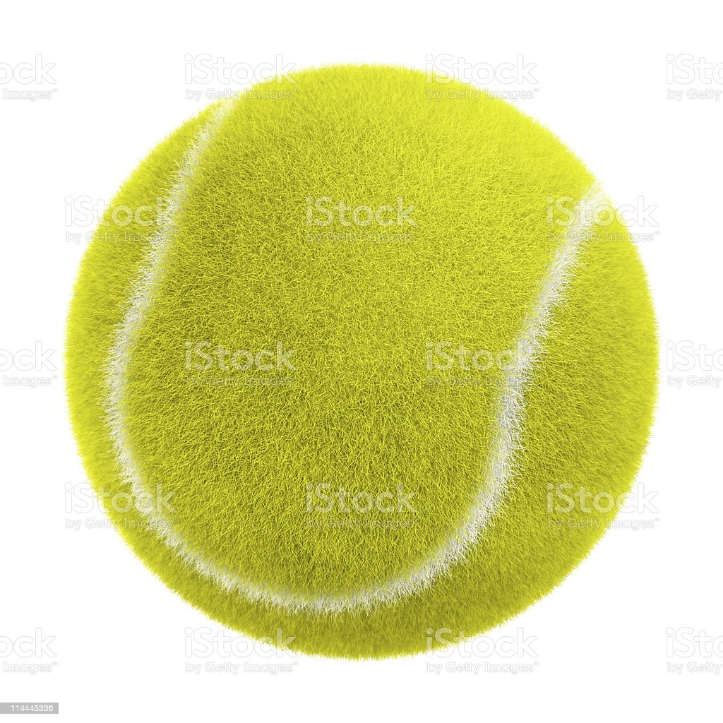 An isolated tennis ball on a huge background stock photo