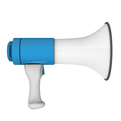 istock An isolated white and blue megaphone on a white background  123471879