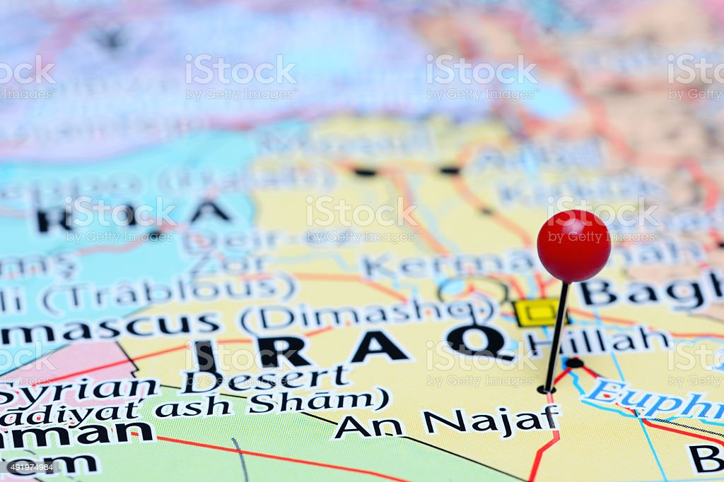 An Najaf Pinned On A Map Of Asia Stock Photo - Download ... on map of amarna, map of great zimbabwe, map of elephantine, map of lower nubia, map of faiyum, map of kush, map of napata, map of adulis, map of ur, map of meroe,