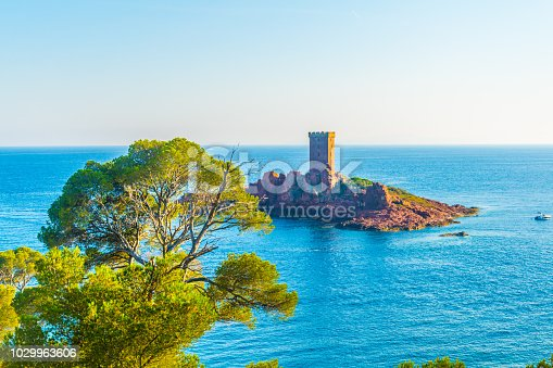 An observation tower on a small islet near cap du dramont in France