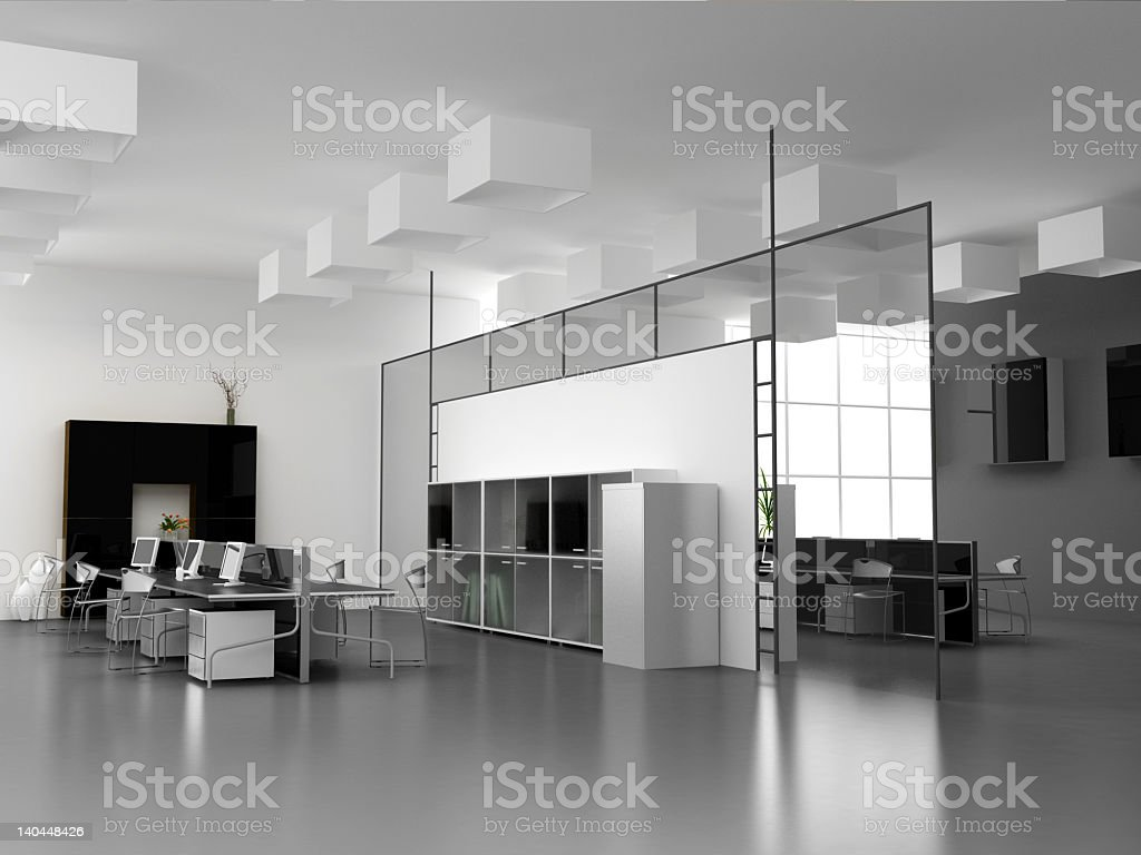 An office interior photo that depicts a modern office royalty-free stock photo