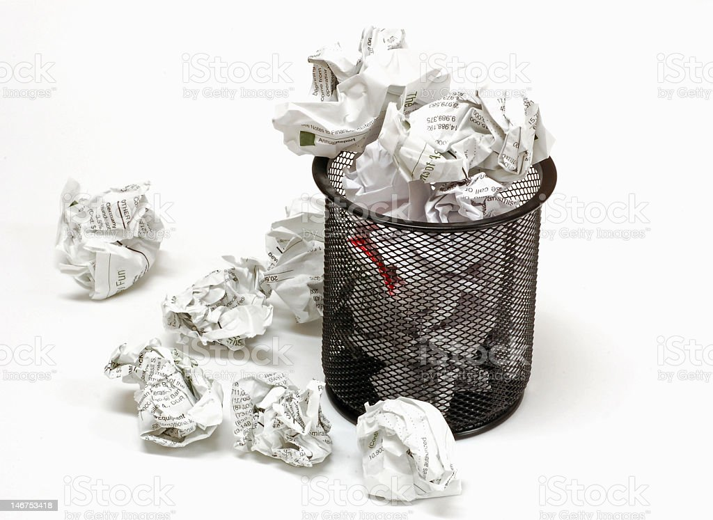 ... An Office Waste Basket That Is Overflowing With Paper Trash Stock Photo  ...