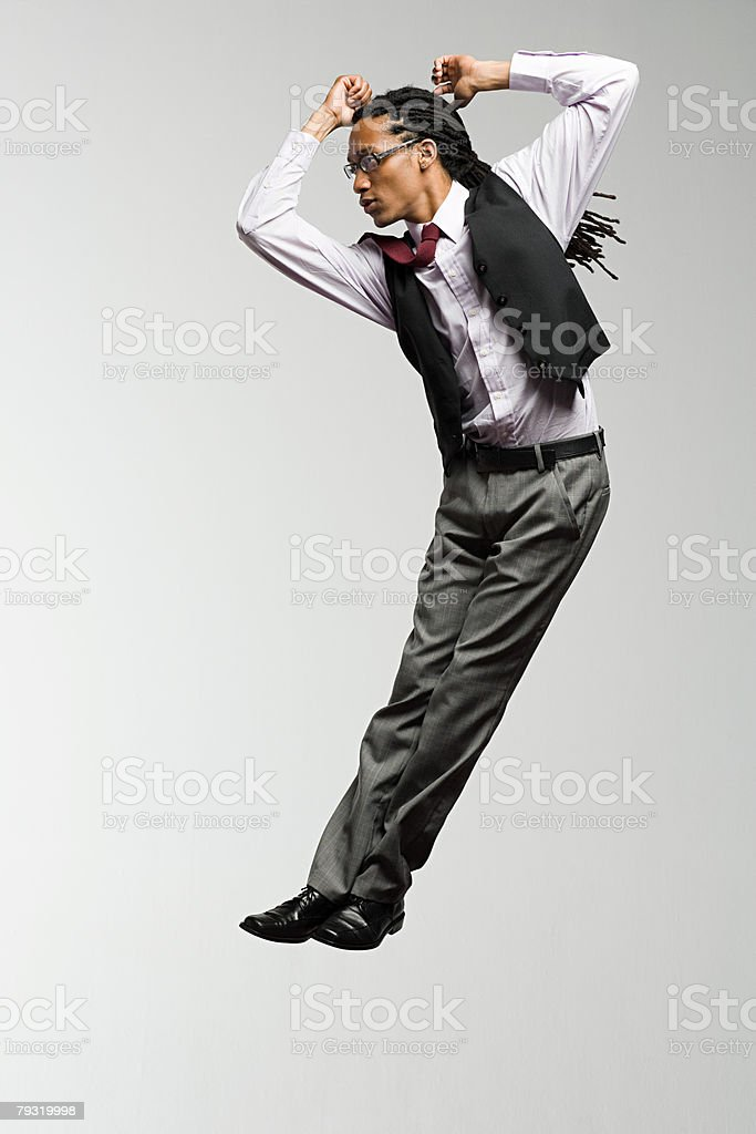 An office worker jumping 免版稅 stock photo