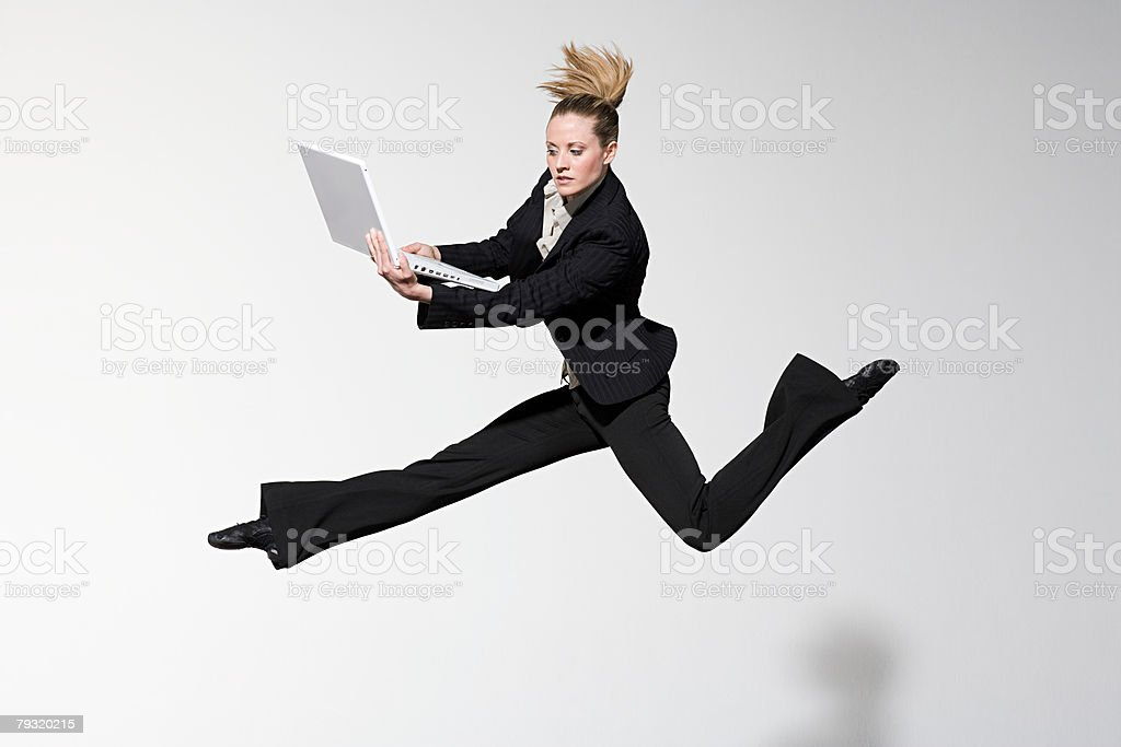 An office worker jumping royalty-free stock photo