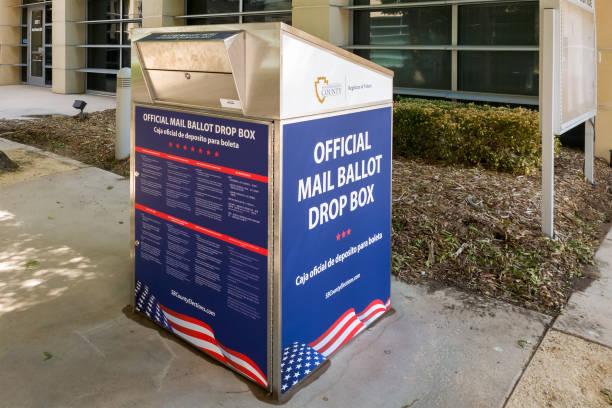 An Official Mail Ballot Drop Box for San Bernardino County stock photo