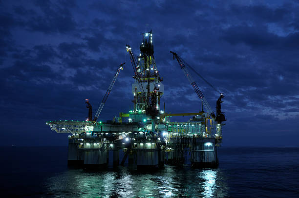 An offshore oil rig shot just before twilight