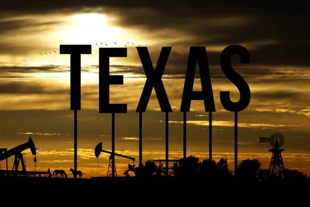 An oil field in Texas stock photo