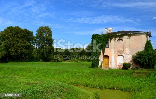 An old abandoned and damaged habitable building with its slanted roof covered with wild wine and other plants or vines seen next to a moss covered pond and a lush field, meadow, or pastureland