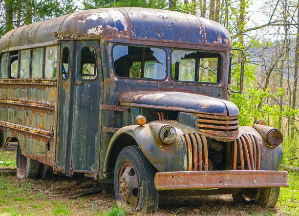 An Old Abandoned Bus stock photo