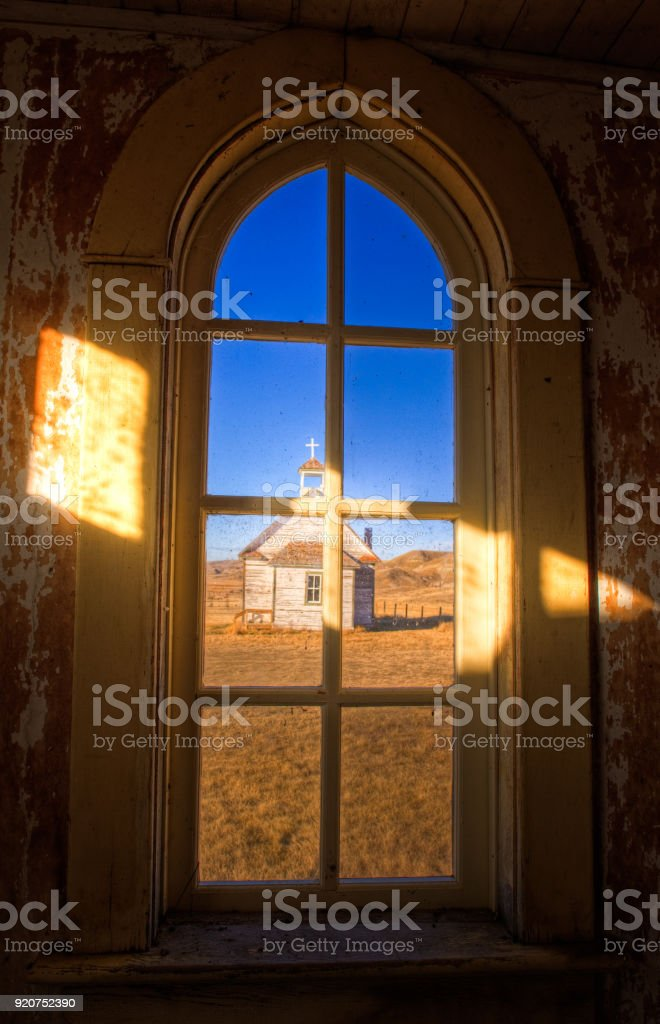 An old abandoned country church in Dorothy, Alberta stock photo