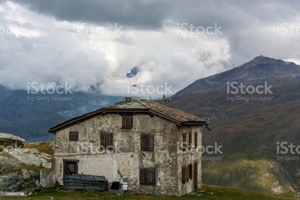 An Old Abandoned House In The Swiss Alps Near The Matterhorn