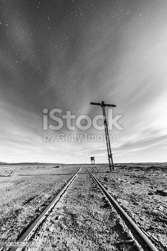 istock An old and abandoned railway track and station with it water tank to fill the trains during their travel around the Atacama Desert for transporting niter or saltpeter coming from the mining industry 1062575514