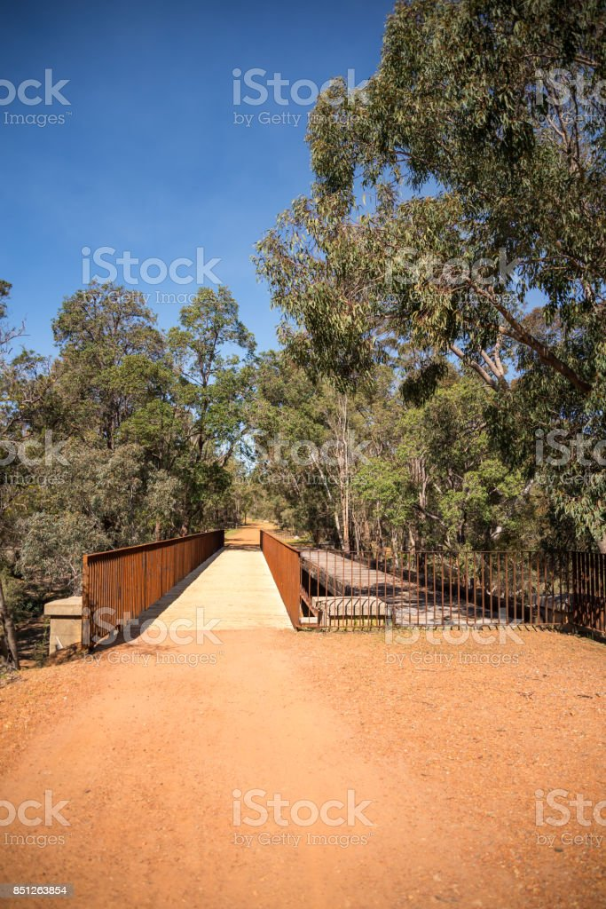 An old and anew pedestrian walking bridge in John Forrest National Park, Western Australia stock photo