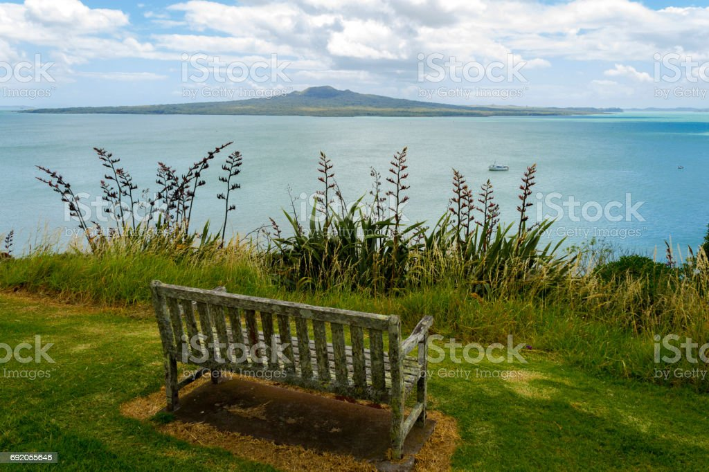An Old Bench at Look Out Spot on North Head Auckland New Zealand stock photo
