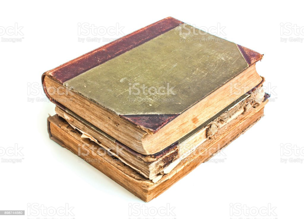 An old book with a crumpled sheet stock photo