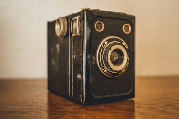 An old box camera from the late 40s, early 50s stock photo