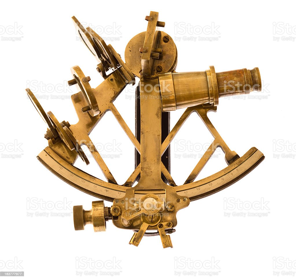An old brass sextant on a white background stock photo