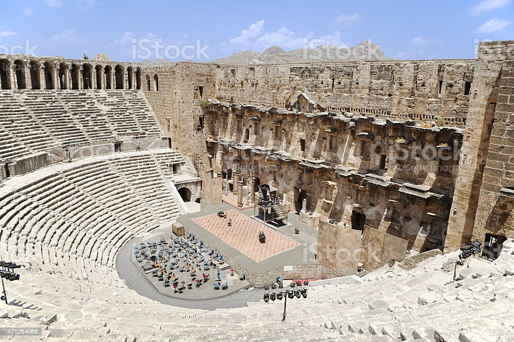 An old building in Aspendos Antalya Turkey stock photo