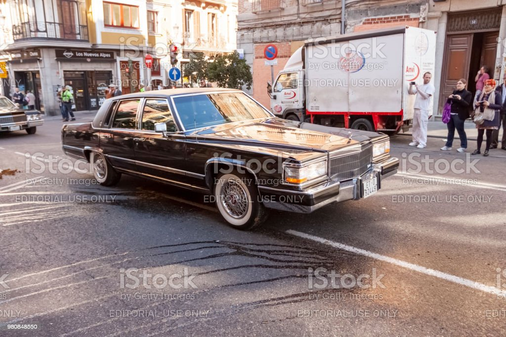 An Old Cadillac on the Streets of Madrid stock photo