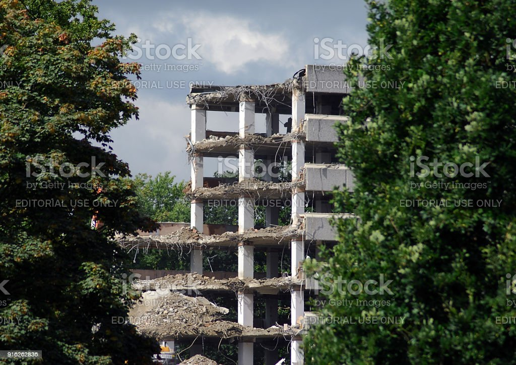 An old car park in the process of being demolished stock photo