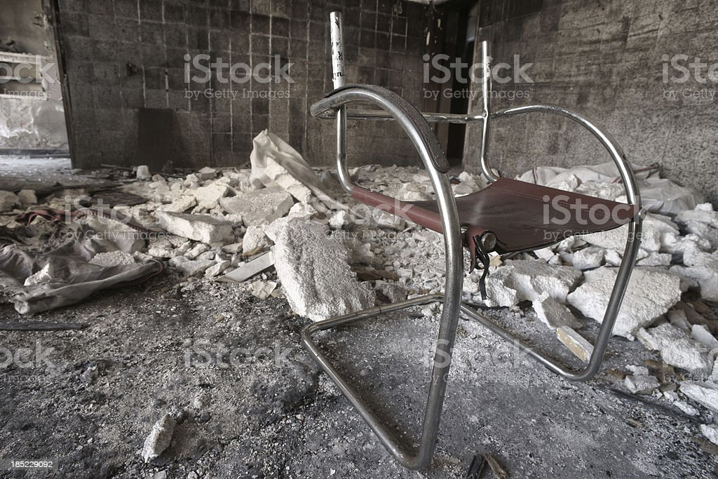 An old chair in abandoned house stock photo