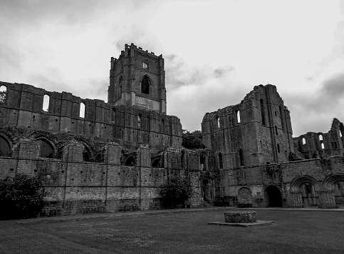 an old church ruin black and white picture