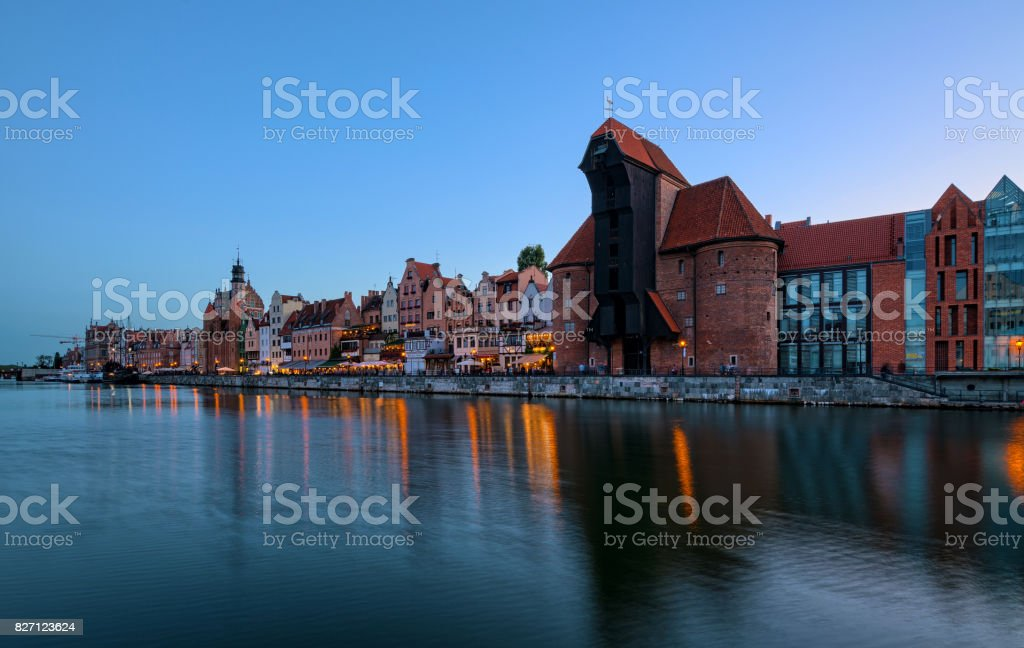 An old crane in the old town of Gdansk. HDR - high dynamic range stock photo