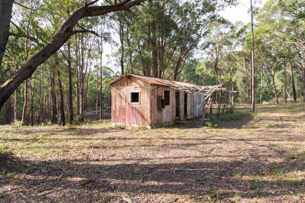 An old dilapidated building in the Wollemi National Park in regional New South Wales stock photo