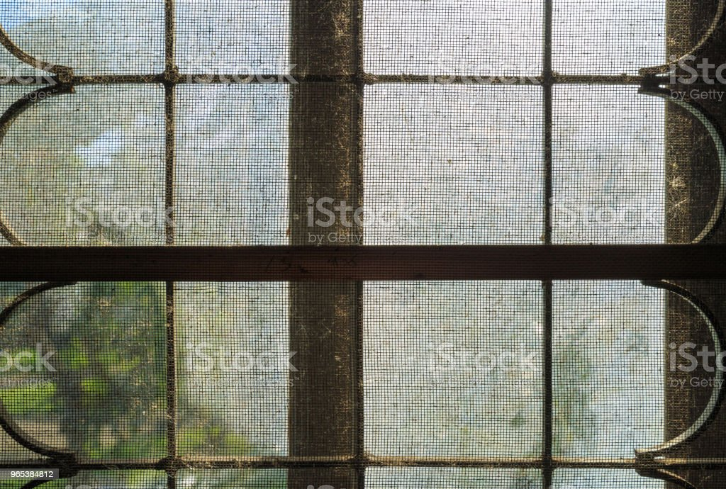An old dirty wire net on window with dust. royalty-free stock photo
